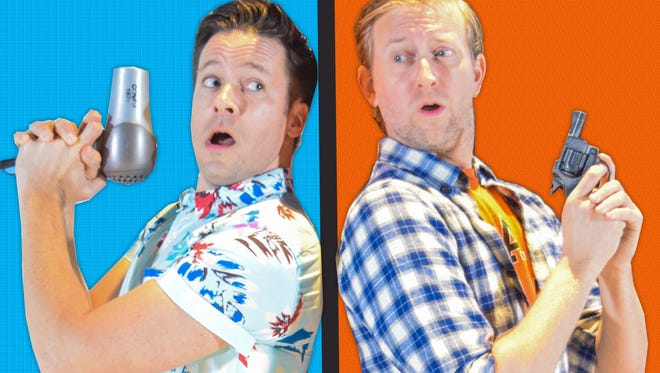 """Danny Bernardy (left) and Timothy C. Goodwin star in Florida Rep's """"Shear Madness"""""""