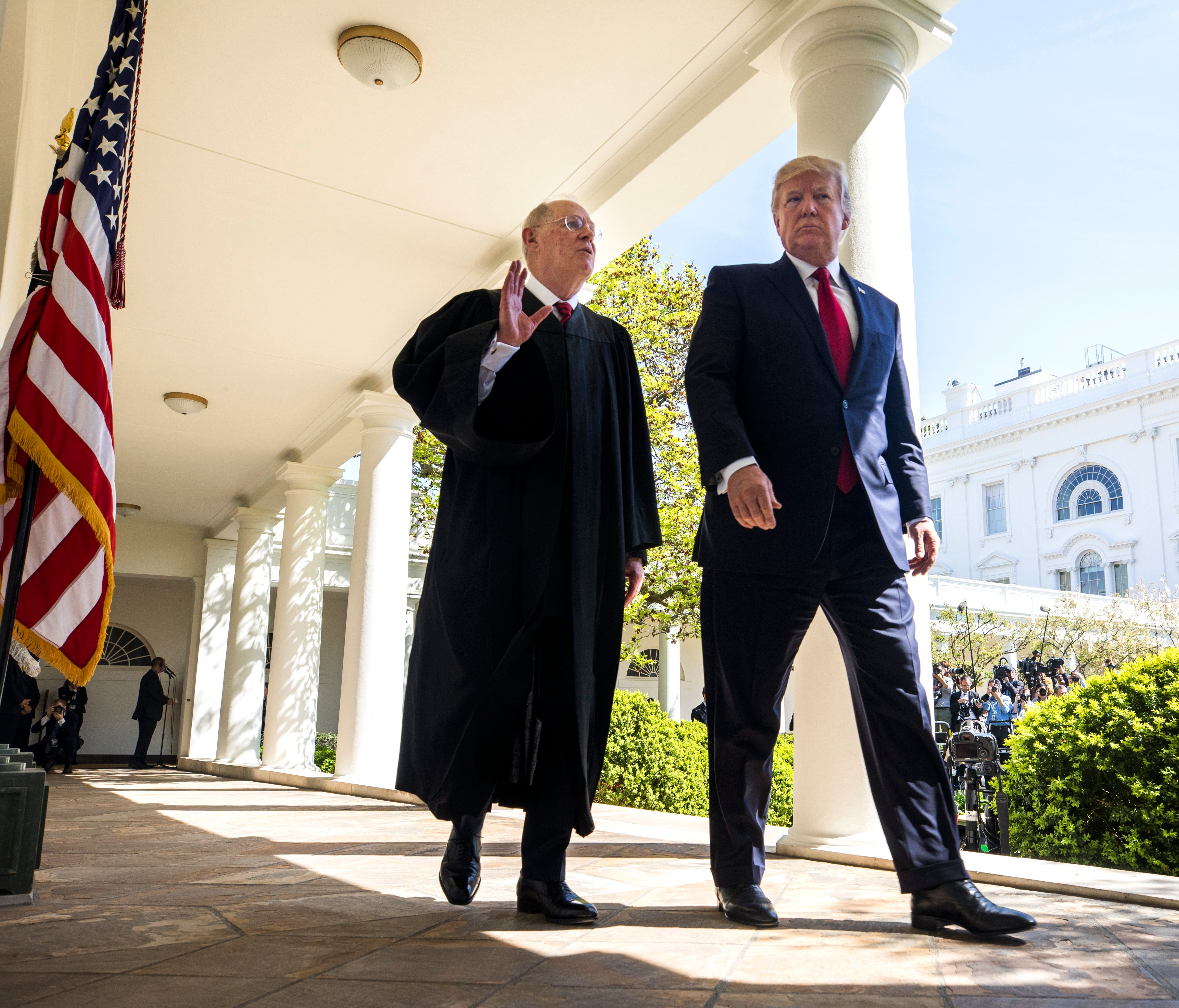 Supreme Court Justice Anthony Kennedy walked outside the White House with President Trump in April, when Justice Neil Gorsuch took the oath of office.