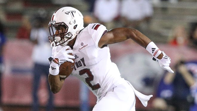 Troy wide receiver John Johnson (2) breaks free for positive yards during a game against South Alabama in Mobile, Ala. on Thursday, October 20, 2016.