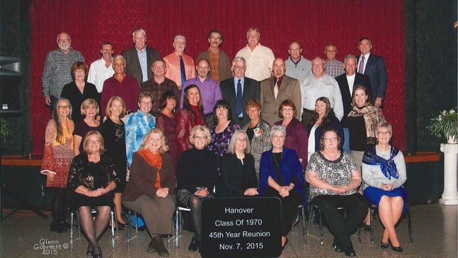 "Hanover High School Class of 1970 celebrated its 45th reunion on Nov. 7 at the Elks Club. Pictured in the first row, from left, are: Carolyn (Snyder) Rickrode, Jean (Cromer) Bollinger, Barb (Baumgardner) Hoffman, Denise Mummert, Ella (Weisensale) Hostetter, Linda (Wildasin) Gladfelter, and Martha (Mummert) Hempfing. Pictured in the second row, from left, are: Judy (Luckenbaugh) Funke, Wilmet (Sell) McLin, Darlene (Wagner) Miner, Linda Staub, Cande (Miller) Fulco, Janyce (Rohde) House, Gloria (Bowman) Markle, Linda (Wagner) Melinchak, Sandy (Winand) Spitz, Linda Wolfe, and Betsy (Quinn) Sanborn. Pictured in the third row, from left, are: Mary (Jacoby) Hnatkowicz, Tom Wright, Jan Cromer, Douglas Hull, Jim Hillegass, Gerald ""Jay"" Wertz, Bill Shanbarger, and Jack McGehee. Pictured in the fourth row, from left, are: R. Michael Snyder, David Bixler, John Frederick, Christopher Funke, Bob Berman, Dave Reese, Jef Troxell, Jack Ruhlman, and Glenn Phillips."
