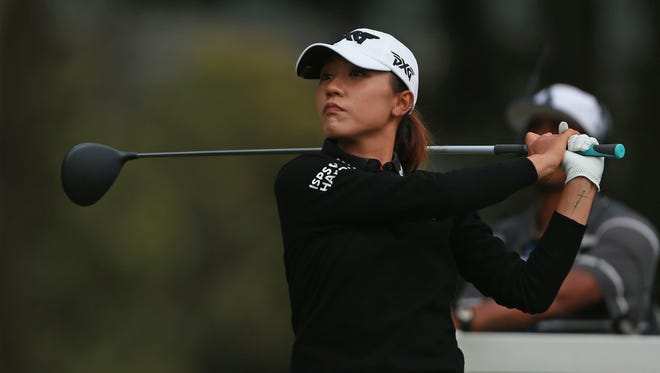 Lydia Ko watches her tee shot on the 16th hole during the third round of the Mediheal Championship on Saturday.