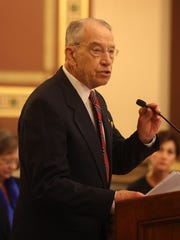 U.S. Senator Chuck Grassley speaks during the Iowa