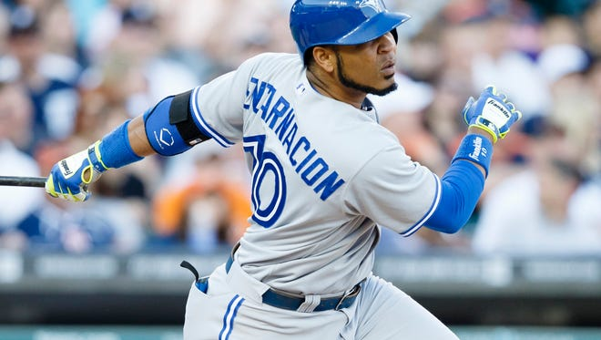 Blue Jays first baseman Edwin Encarnacion hits a double in the fourth inning against the Detroit Tigers at Comerica Park on June 3.
