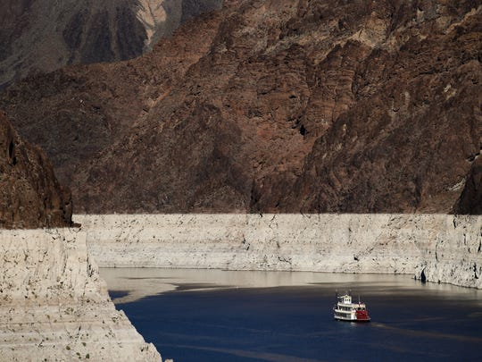 The level of Lake Mead, which stores Colorado River water for use by California and other states, has declined precipitously during a 16-year drought in the Colorado River Basin.