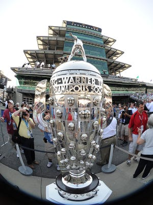 The Borg-Warner Trophy before the running of the 96th Indianapolis 500 Sunday, May 27, 2012, afternoon at the Indianapolis Motor Speedway.