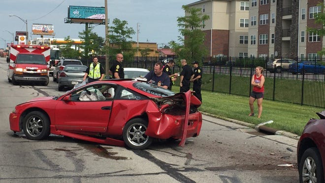 One person was taken to IU Health Ball Memorial Hospital Thursday after a four-vehicle crash.