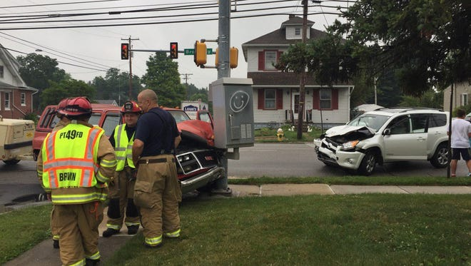 Two vehicle crash in Hanover Borough at Broadway and Grant Street July 6.