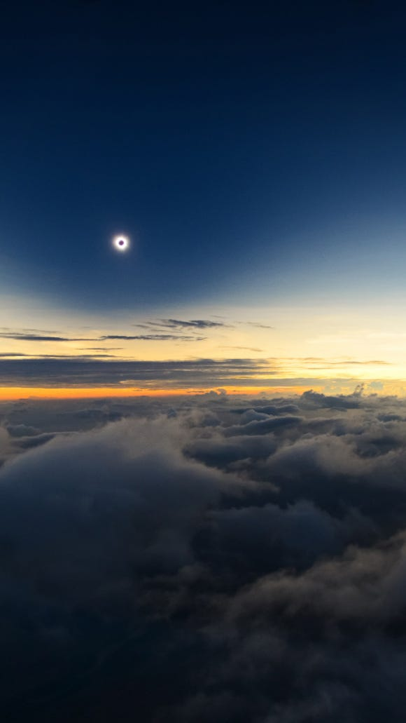 A fantastic view of one of nature's greatest spectacles, a total solar eclipse, taken from an airplane some 3,200 meters above Turkana, Kenya, Sept. 2014.