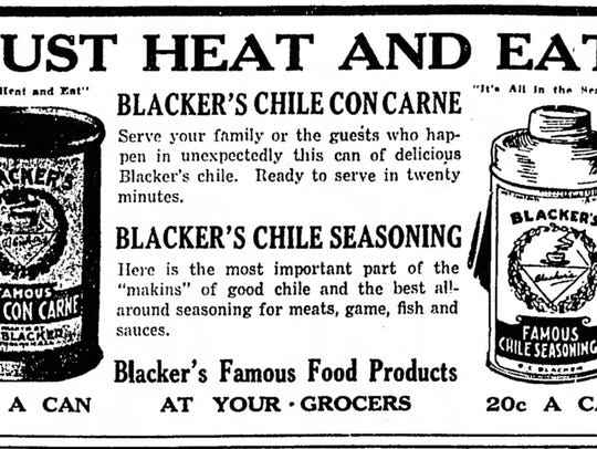 1922 advertisement for Blacker's Famous Food Products