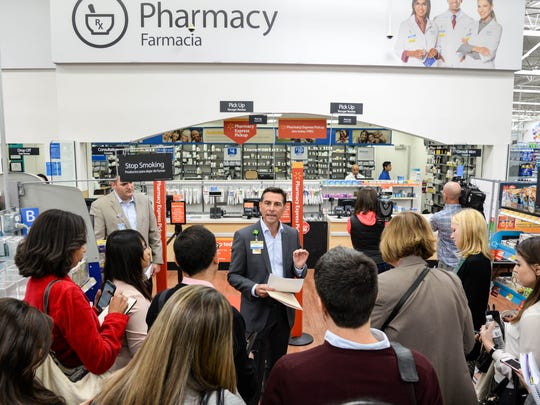 Walmart executive Paul Beahm speaks about Walmart Pay during a visit to the North Bergen store on Monday.
