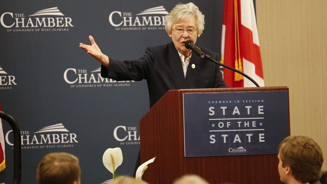 Alabama Gov. Kay Ivey, who normally addresses the Chamber of Commerce of West Alabama in person for her annual State of the State address, as seen in this file photo from 2018's event, was forced to give her remarks this year remotely from what appeared to be her office in Montgomery because of coronavirus precautions.