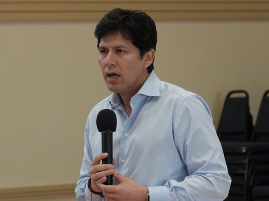 In this file photo, Kevin de León is shown in an Oxnard visit during his run for U.S. Senate.