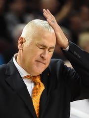 OSU coach Wayne Tinkle, pictured in the first half of a game at USC on Feb. 9, had a team with assorted injuries in his third season.