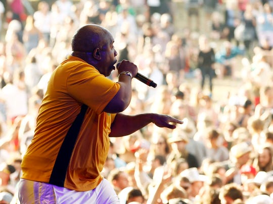Young MC performs on stage on day two of the Falls