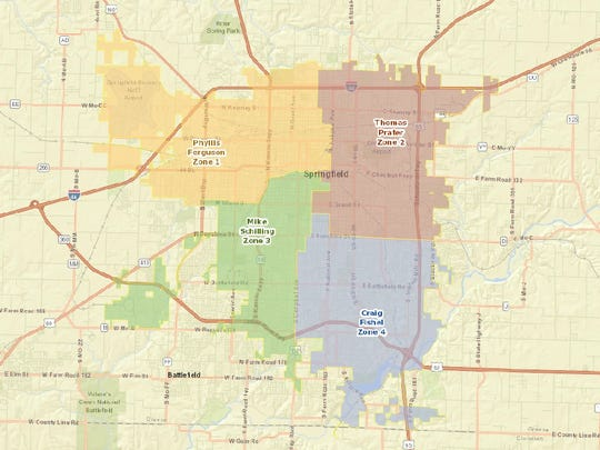 Springfield is divided into four City Council zones.