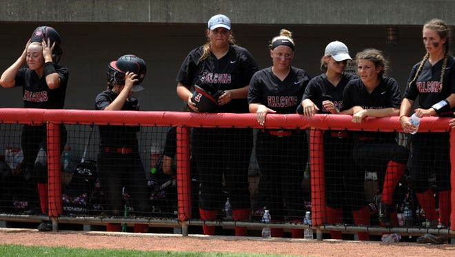 Fairfield Union players react in their dugout after the team's 1-0 Division II state semifinal loss to Keystone.