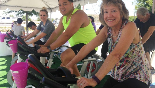 Participating in the Bike to End Alzheimer's fundraiser on Wednesday in Thousand Oaks are, from left, Amanda Senger, director of activities and memory programs at Belmont Village Senior Living in Thousand Oaks; Stephen Zavala, of Westlake; and Kim Stanulis, of Thousand Oaks.