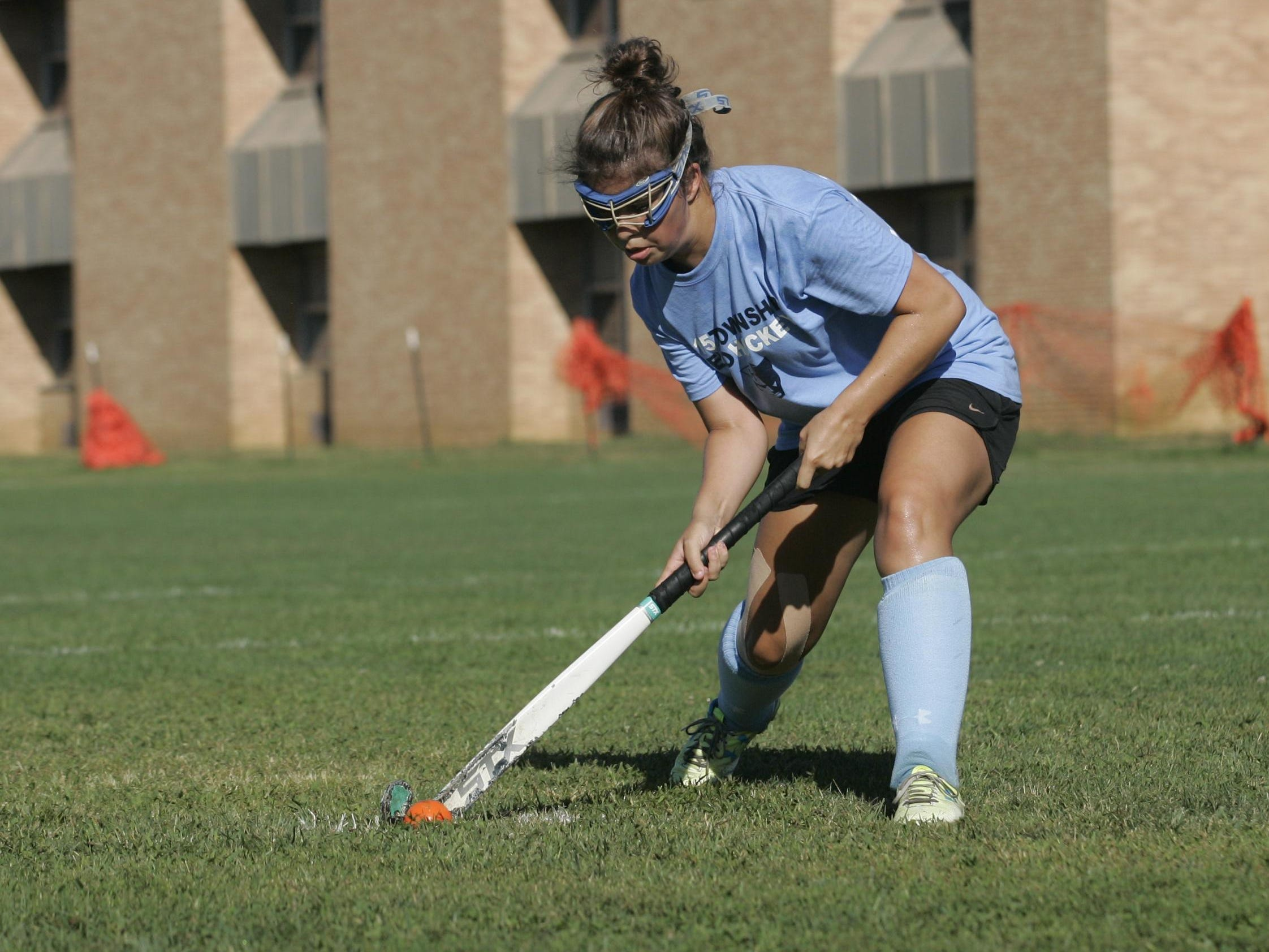 Freehold Township High School's Kellie Hennessey practices field hockey drills during pre-season training, Friday, Aug. 28, 2015 Jerry Wolkowitz/Correspondent ASB 0905 TAB Field Hockey Preview