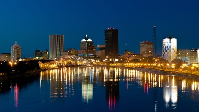 The Rochester skyline at night.