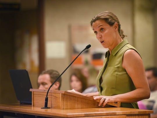 Julie Umstead speaks to the Sioux Falls county commission