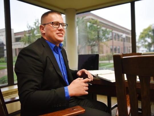 Kaleb Paulsen, third year law student, talks about how he feels about the University of South Dakota's law school program possibly being moved to Sioux Falls, Monday, Oct. 2, in Vermillion. A USD Law School Task Force Friday will make recommendations about where to house the school in the future.
