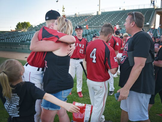Brandon Valley celebrates after their win against Pierre