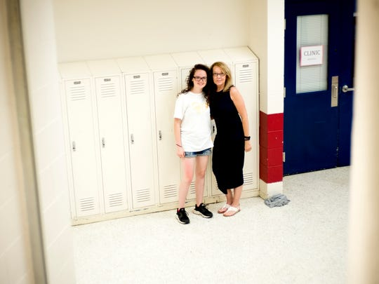Claire Bowman with her student Destiny at the Big Brother Big Sister club meeting at South-Doyle High School in Knoxville, Tennessee on Thursday, May 17, 2018. This group is part of the Big Brother Big Sister Mentor 2.0 program.