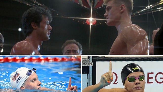 """Lilly King (bottom left) and Yulia Efimova (bottom right) re-ignite the battles between the US and Russia during the Cold War, and throws in some trash talk not unlike Balboa vs. Drago in """"Rocky IV."""""""