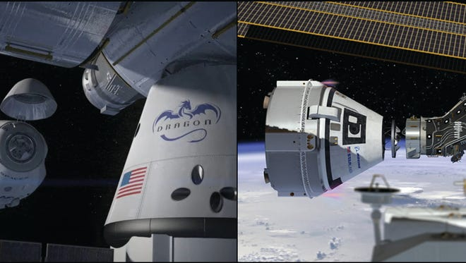 This NASA montage shows artist renderings of a SpaceX Crew Dragon capsule, left, and Boeing CST-100 Starliner capsule, right, at the International Space Station. The capsules are being developed under NASA's Commercial Crew Program to fly astronauts to and from the ISS.