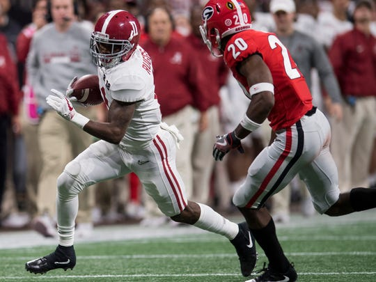 Alabama wide receiver Henry Ruggs III (11) against Georgia in second half action of the College Football Playoff National Championship Game in the Mercedes Benz Stadium in Atlanta, Ga., on Monday January 8, 2018.