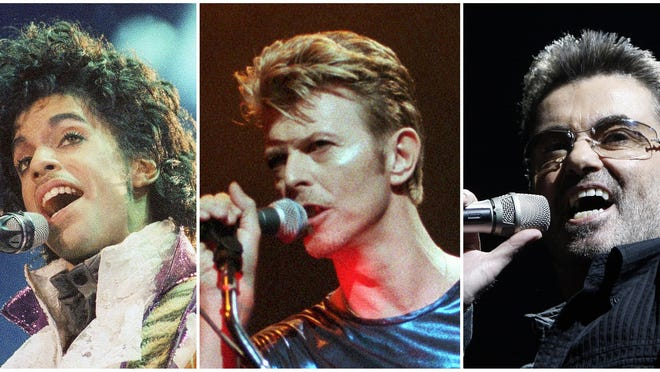This photo combination shows performances by pop music icons, from left, Prince in 1985, David Bowie in 1995, and George Michael in 2008. The entertainers were among a number of influential entertainers, sports stars and political figures who died in 2016.