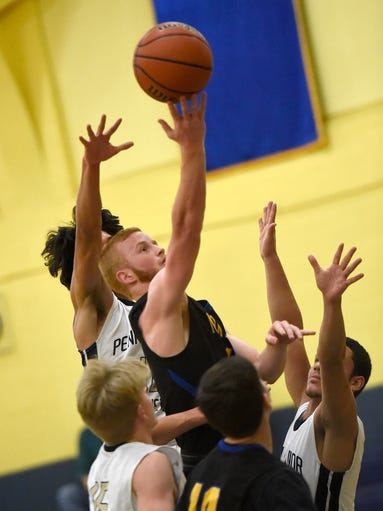 Lebanon Viking Caleb Light soars above Penn Manor defenders