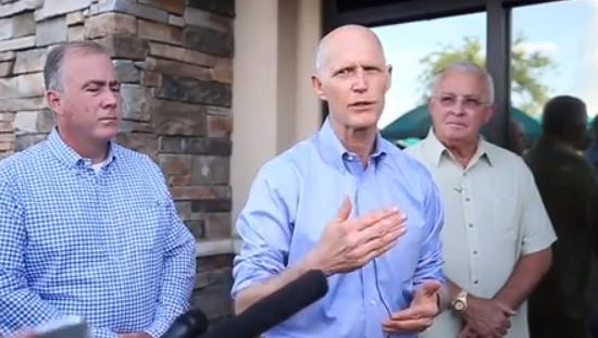 Gov. Rick Scott meets with officials in the Panhandle to discuss Subtropical Storm Alberto.