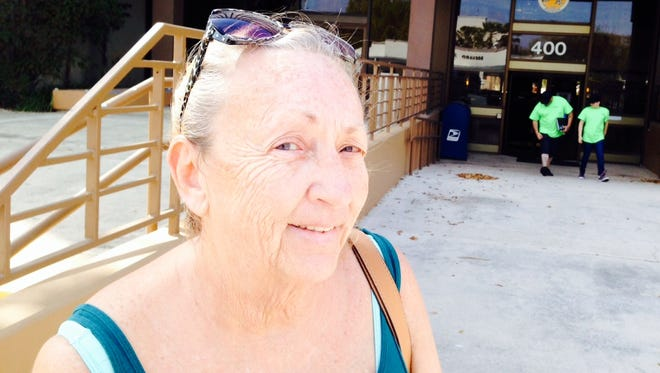 """Geraldine Sola-Rivera of Mims, cast her ballot for Donald Trump on Friday at the early-voting site in Titusville. """"My thing is: If you don't vote, keep your mouth shut,"""" instead of complaining about the government, Sola-Rivera said. """"You have nothing to say."""""""