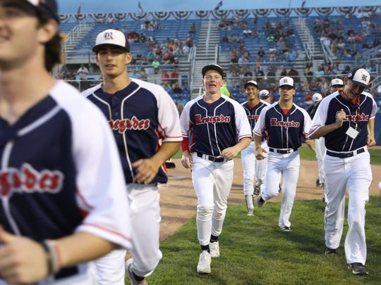 The SoCal Renegades take the field after their introduction during the Connie Mack World Series opening ceremony Thursday at Ricketts Park.