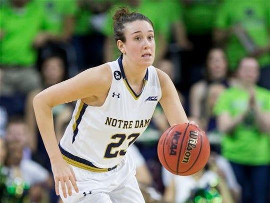Notre Dame's Michaela Mabrey (23) brings the ball downcourt