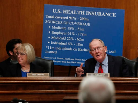 Senate Health, Education, Labor and Pensions Committee Chairman Sen. Lamar Alexander, R-Tenn., with the committee's ranking member Sen. Patty Murray, D-Wash., speaks on Capitol Hill in Washington, Wednesday, Jan. 18, 2017, during the committee's confirmation hearing for Health and Human Services Secretary-designate, Rep. Tom Price, R-Ga., lower right.