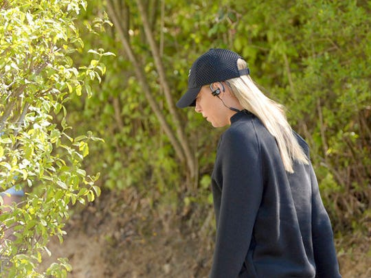 Russian tennis player Maria Sharapova is on her way to a training session after the end of her 15-month doping suspension in Stuttgart, Germany, Monday, April 24, 2017.