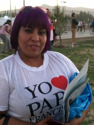 Oneida Gomez, 30, saw the pope in Juarez, Feb. 17,