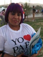 Oneida Gomez, 30, saw the pope in Juarez, Feb. 17,