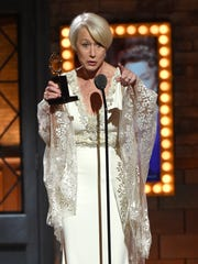 "Helen Mirren accepts the award for Best Performance by an Actress in a Leading Role in a Play for ""The Audience"" during the 2015 Tony Awards."