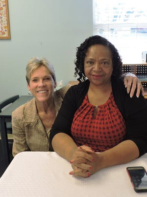 """Taryn Kryzda, Martin County Administrator, left, and Eula Clarke, Stuart City Commissioner, enjoy """"Dinner with the Director"""" at GWCCC."""
