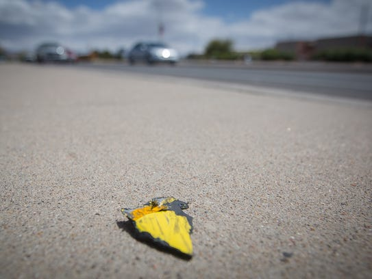A piece of yellow plastic debris, seen on March 30,