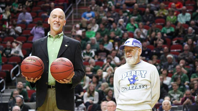 Homer Perkins (right) was recognized as a Perry fan of the game before the tipoff of the Bluejays vs Dutch game at Wells Fargo Arena in 2016. FILE PHOTO/THE PERRY CHIEF
