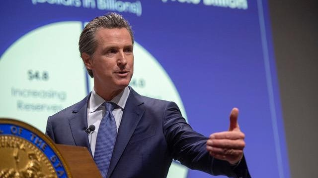 Governor Gavin Newsom introduces his proposed state budget for fiscal year 2019-20 on Thursday, Jan. 10, 2019 at the Secretary of State auditorium.
