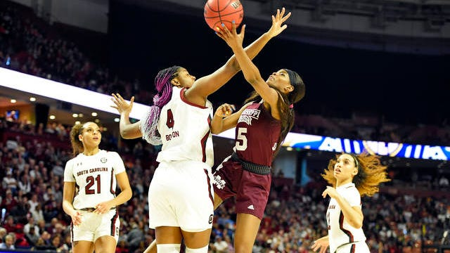 Mississippi State's Rickea Jackson (5) shoots while defended by South Carolina's Aliyah Boston (4) during a championship match at the Southeastern conference women's NCAA college basketball tournament in Greenville, S.C. on Sunday.