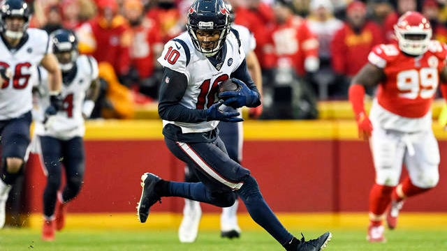 In this Jan. 12 file photo, Houston Texans wide receiver DeAndre Hopkins (10) runs against the Kansas City Chiefs during the second half of an NFL football game in Kansas City, Mo.