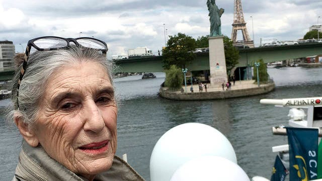 This 2019 photo provided by Olga Weiss shows her in France. For Weiss, the order to stay at home is about much more than simply locking her door to the coronavirus. It has awakened fears from decades ago when she and her parents hid inside for two years from Nazis hunting down Jews in Belgium.