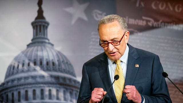 In this June 16 photo, Senate Majority Leader Chuck Schumer of N.Y., speaks during a news conference on Capitol Hill in Washington.