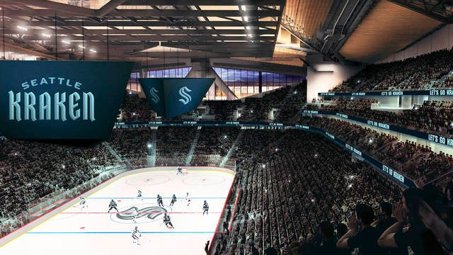 This artists rendering released Thursday by the Seattle Kraken, shows the NHL hockey team's new logo, left, and name, displayed in what would be their finished arena.